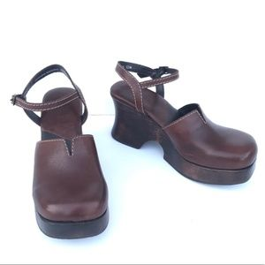 Mia Mary Jane Brown Leather Platform Clogs
